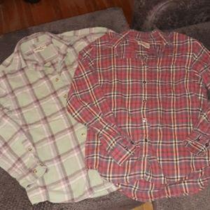 2 VTG Eddie Bauer flannel shirts! Men S/ Women M